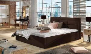 NABBI Rovigo 180 čalúnená manželská posteľ s roštom tmavohnedá (Soft 66)