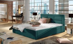 NABBI Rovigo 180 čalúnená manželská posteľ s roštom tyrkysová