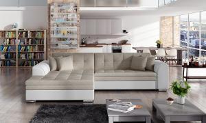 NABBI Salerno L rohová sedačka s rozkladom béžová / biela