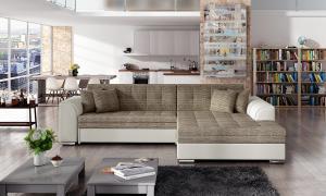 NABBI Salerno P rohová sedačka s rozkladom cappuccino / béžová