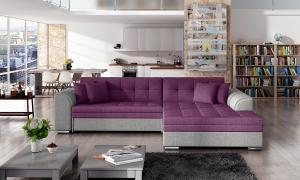 NABBI Salerno P rohová sedačka s rozkladom tmavoružová / svetlosivá