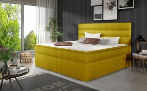 NABBI Spezia 140 čalúnená manželská posteľ s úložným priestorom žltá
