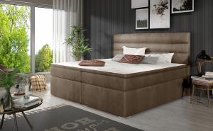 NABBI Spezia 180 čalúnená manželská posteľ s úložným priestorom hnedá