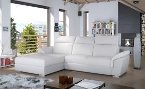 NABBI Tarragon L rohová sedačka s rozkladom a úložným priestorom biela