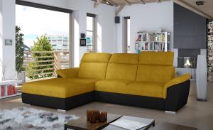 NABBI Tarragon L rohová sedačka s rozkladom a úložným priestorom žltá / čierna