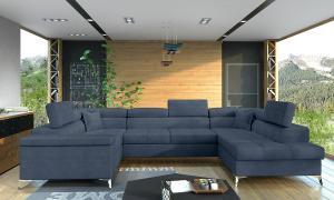 NABBI Torres U L rohová sedačka u s rozkladom a úložným priestorom modrá