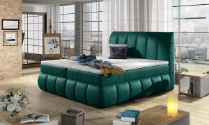 NABBI Vareso 140 čalúnená manželská posteľ s úložným priestorom tmavozelená