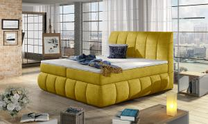 NABBI Vareso 140 čalúnená manželská posteľ s úložným priestorom žltá