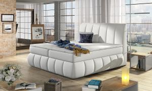 NABBI Vareso 180 čalúnená manželská posteľ s úložným priestorom biela