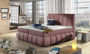 NABBI Vareso 180 čalúnená manželská posteľ s úložným priestorom tmavoružová