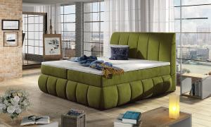 NABBI Vareso 180 čalúnená manželská posteľ s úložným priestorom zelená