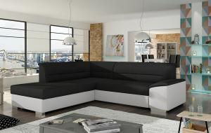 NABBI Vora L rohová sedačka s rozkladom a úložným priestorom čierna / biela