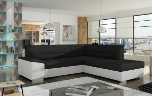 NABBI Vora P rohová sedačka s rozkladom a úložným priestorom čierna / biela