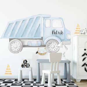Nákladné auto s menom - akvarelová textilná nálepka na stenu
