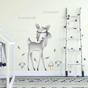 Nálepka čiernobieleho jelenčeka do detskej izby