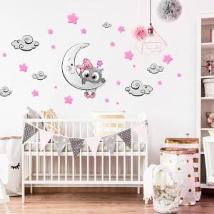 Nálepka do detskej izby - Ružovo-sivá sovička
