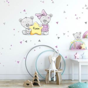 Nálepka fialový mackovia s hviezdičkou s menom dievčatka