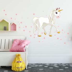 Nálepka jednorožca s ružovými hviezdami