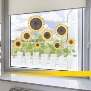Nálepka na okno - Slnečnice a biely plot