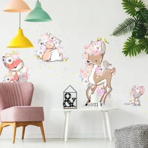 Nálepka na stenu - Floral animals