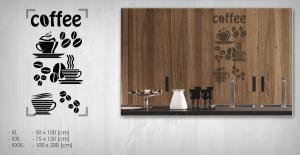 Nálepka na stenu KÁVA NAKA015 50x100 cm – tmavo hnedá  farba