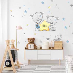 Nálepka na stenu Macovia a hviezdy s menom v modrom