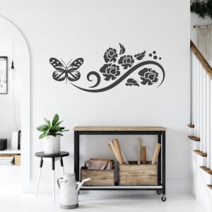Nálepka na stenu - Motýľ s kvetmi