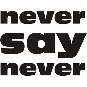 Nálepka na stenu - Never say never _ttx20