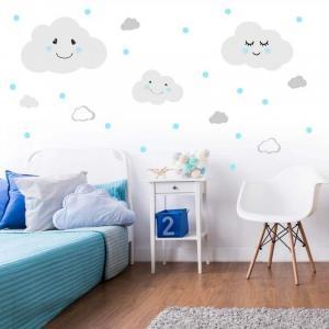 Nálepka na stenu - Obláčiky s modrými bodkami