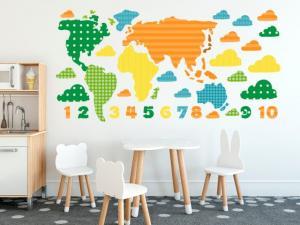 Nálepka na stenu pre deti Farebná mapa 100x50cm NK3467A_1GD