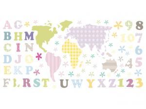 Nálepka na stenu pre deti Pastelová mapa s písmenkami 100x50cm NK3465A_1GD