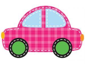 Nálepka na stenu pre deti Ružové autíčko 10x10cm NK4384A_1HP