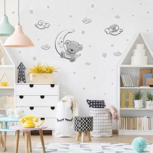 Nálepka na stenu - Sivý macko
