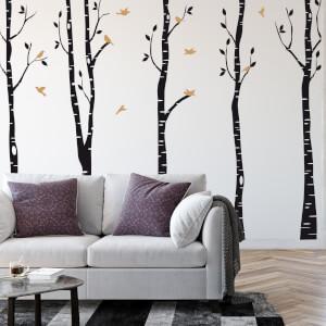 Nálepka na stenu - Stromoradie s vtáčikmi