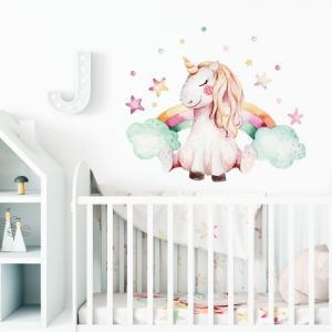 Nálepka na stenu Unicorn - rainbow