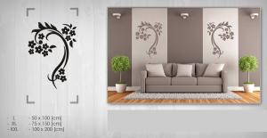 Nálepka na stenu Zľava 40 %  KVETY 75x150 cm NAK092 - sivá farba