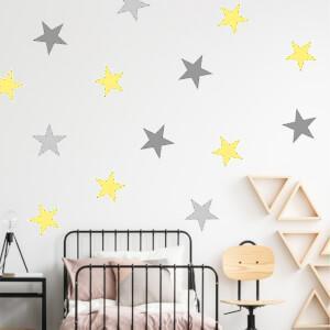 Nálepka na stenu - Žlté hviezdy
