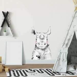Nálepka - Veľký nosorožec v čiernobielej
