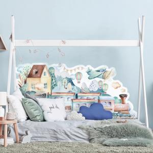 Nálepka Vláčiky - zástena k chlapčenskej posteli