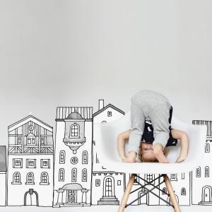 Nálepky na stenu - Domčeky v meste