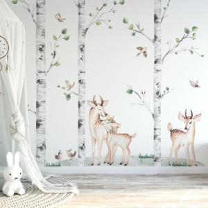 Nálepky na stenu Forest - brezy, jelenček, pár jelenčekov, vtáčiky a tráva K01