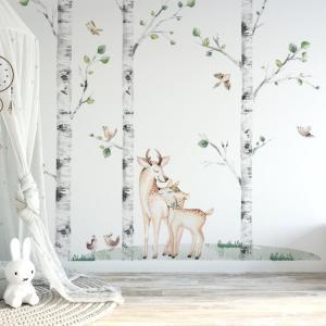 Nálepky na stenu Forest - brezy, pár jelenčekov, vtáčiky a tráva K03