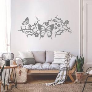Nálepky na stenu - Kvety a motýle