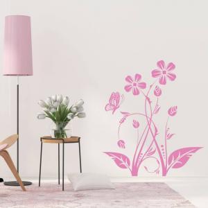 Nálepky na stenu - Kvety a motýľ
