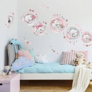 Nálepky na stenu - Mackovia s menom v ružovom