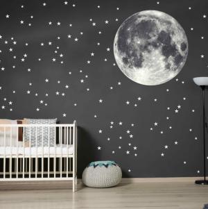 Nálepky na stenu - Mesiac s hviezdami