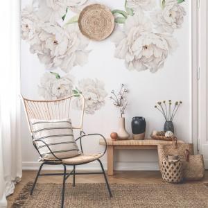 Nálepky na stenu Nature - pivonky - biele
