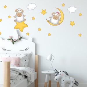 Nálepky na stenu- Ovečky s hviezdami