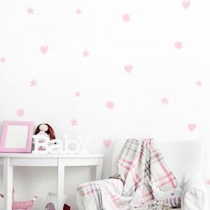 Nálepky na stenu Pastel - hviezdičky, srdiečka, guličky DK146