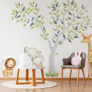 Nálepky na stenu Safari - strom a zvieratká